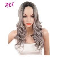 Deyngs Long Bouncy Curly Wigs For Black Women Ombre Black To Gray Color Naturally Synthetic None Lace Hair Wig Heat Resistant