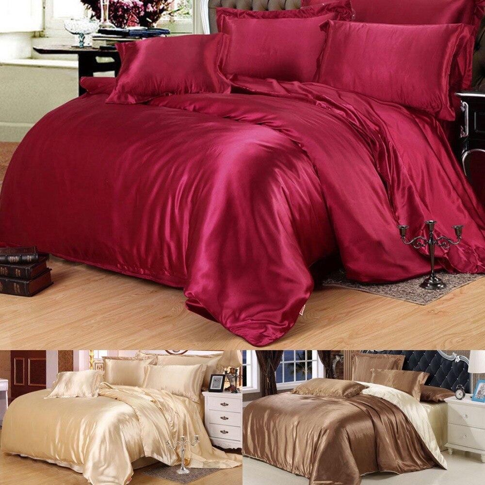 Mélange de soie de luxe double reine roi taille housse de couette taie d'oreiller draps ensembles de literie