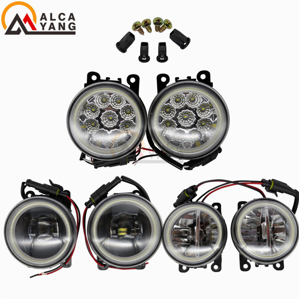 Angel Eye For Mitsubishi Outlander L200 Pajero Grandis Galant 2003-2015 Car Styling Daytime Running Light DRL Fog Lights for mitsubishi l200 outlander 2 pajero 4 grandis 2003 2015 car styling angel eyes drl led fog lights 9cm spotlight ocb lens