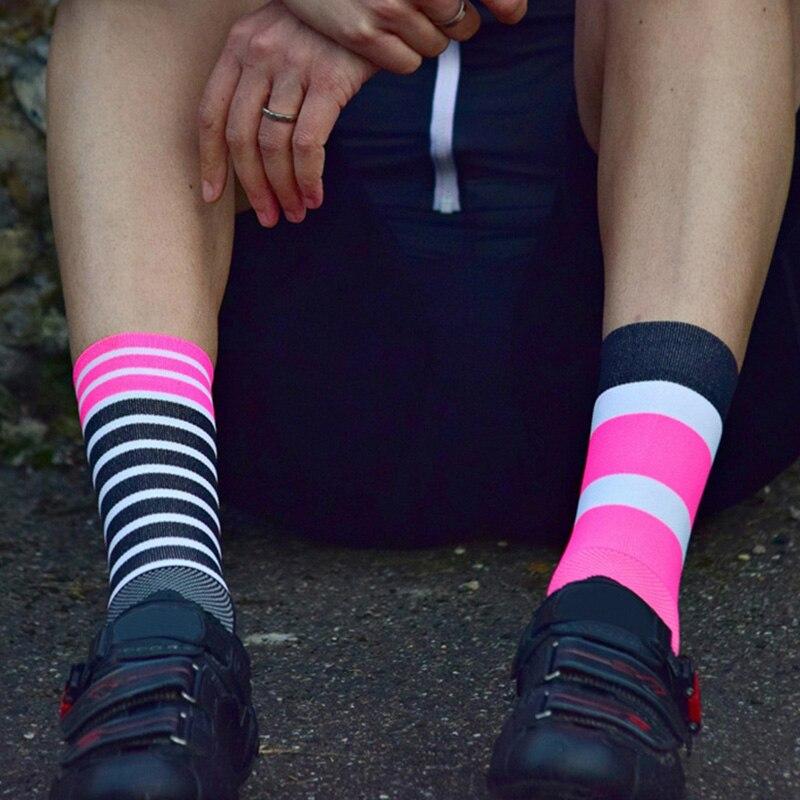 men stripes sports Cycling Socks for basketball football Gym Outdoor Racing Compression Socks Bike Socks Footwear colorful one set vertical stripes socks