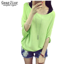 2017 new hot women's spring summer thin slash neck candy color knit sweaters woman big yards loose pullover tee 5 colors