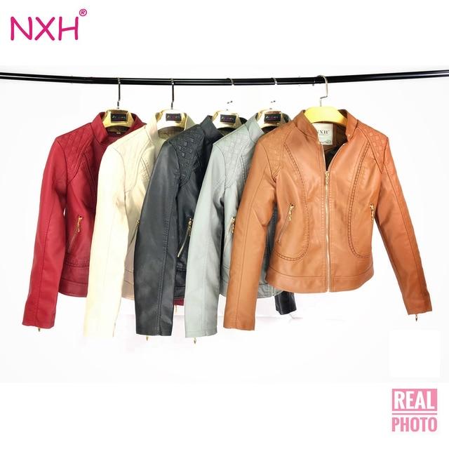c7e97ba480f NXH 2018 Real photo New Winter otoño buena calidad chaqueta de cuero PU  para mujer chaqueta
