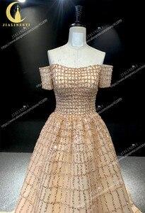 Image 4 - JIALINZEYI Echt Bild Luxuriöse Boot ausschnitt Chapagne Perlen Gericht Trian robe de soiree Formale Kleider Abendkleid 2019