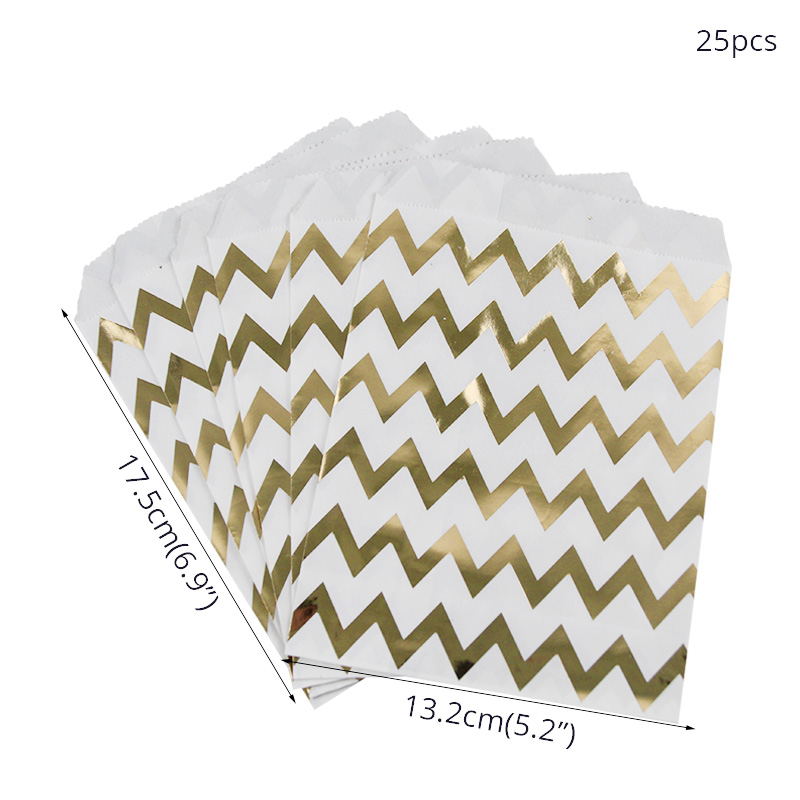 Image 3 - WEIGAO 25Pcs Gold Dot Striped Star Gift Bag Paper Bags for Kids Birthday Party Decoration Dessert Candy Bar Bag Snack Cookie Bag-in Gift Bags & Wrapping Supplies from Home & Garden