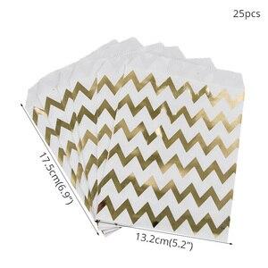 Image 3 - WEIGAO 25Pcs 골드 도트 스트라이프 스타 선물 가방 종이 봉투 생일 파티 장식 디저트 캔디 바 가방 스낵 쿠키 가방