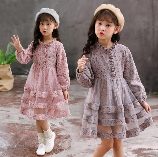 Girls dresses 2019 autumn kids girls long sleeve princess dress for birthday party wear children clothing winter teenager dress 1