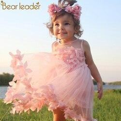 Bear Leader Girls Dress 2018 New Summer Mesh Girls Clothes Pink Applique Princess Dress Children Summer Clothes Baby Girls Dress