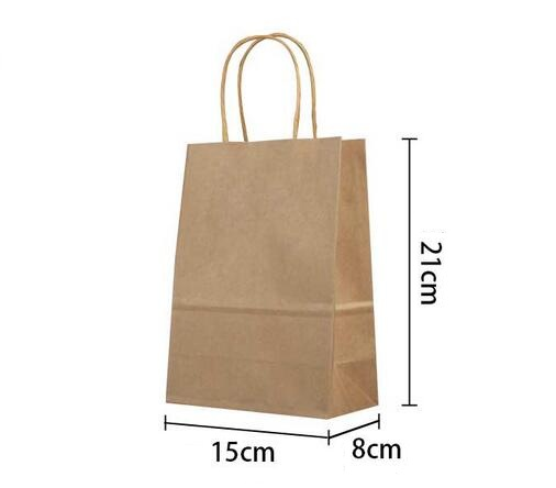 Image 2 - 40PCS/lot gift kraft paper bag with handles dark color/ Multifunction  21x15x8cm Festival gift bag wedding party/ High Quality-in Gift Bags & Wrapping Supplies from Home & Garden