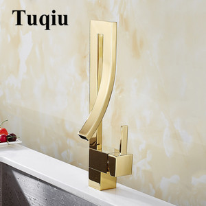 Image 4 - Basin Faucets Gold Brass Faucet Square Bathroom Sink Faucet Single Handle Deck Mounted Toilet Hot And Cold Mixer Water Tap