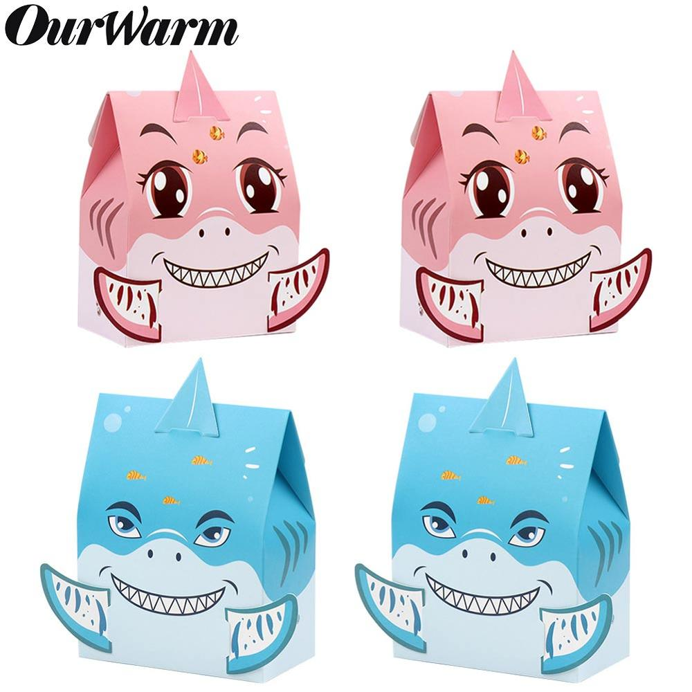 OurWarm 12pcs Shark Party Candy Box Paper Gift Boxes Under The Sea Shark Theme Baby Shower Favor Kids Birthday Party Decor