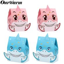 OurWarm 12pcs Shark Party Candy Box Paper Gift Boxes Under the Sea Theme Baby Shower Favor Kids Birthday Decor