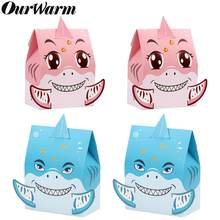OurWarm 12 stücke Shark Partei Candy Box Papier Geschenk Boxen Unter die Meer Hai Thema Baby Shower Favor Kinder Geburtstag party Decor(China)