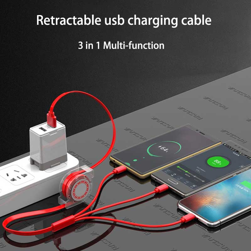 Usb charging <font><b>cable</b></font> for samsung huawei all-<font><b>in</b></font>-one <font><b>retractable</b></font> chage cord for xiaomi portable micro type-c new fast charge <font><b>cable</b></font> image