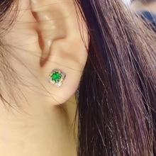 Новые зеленые серьги с натуральным Изумрудом и драгоценным камнем для женщин, серебряные ювелирные изделия хорошего цвета, натуральный камень, подарок на день рождения, годовщину