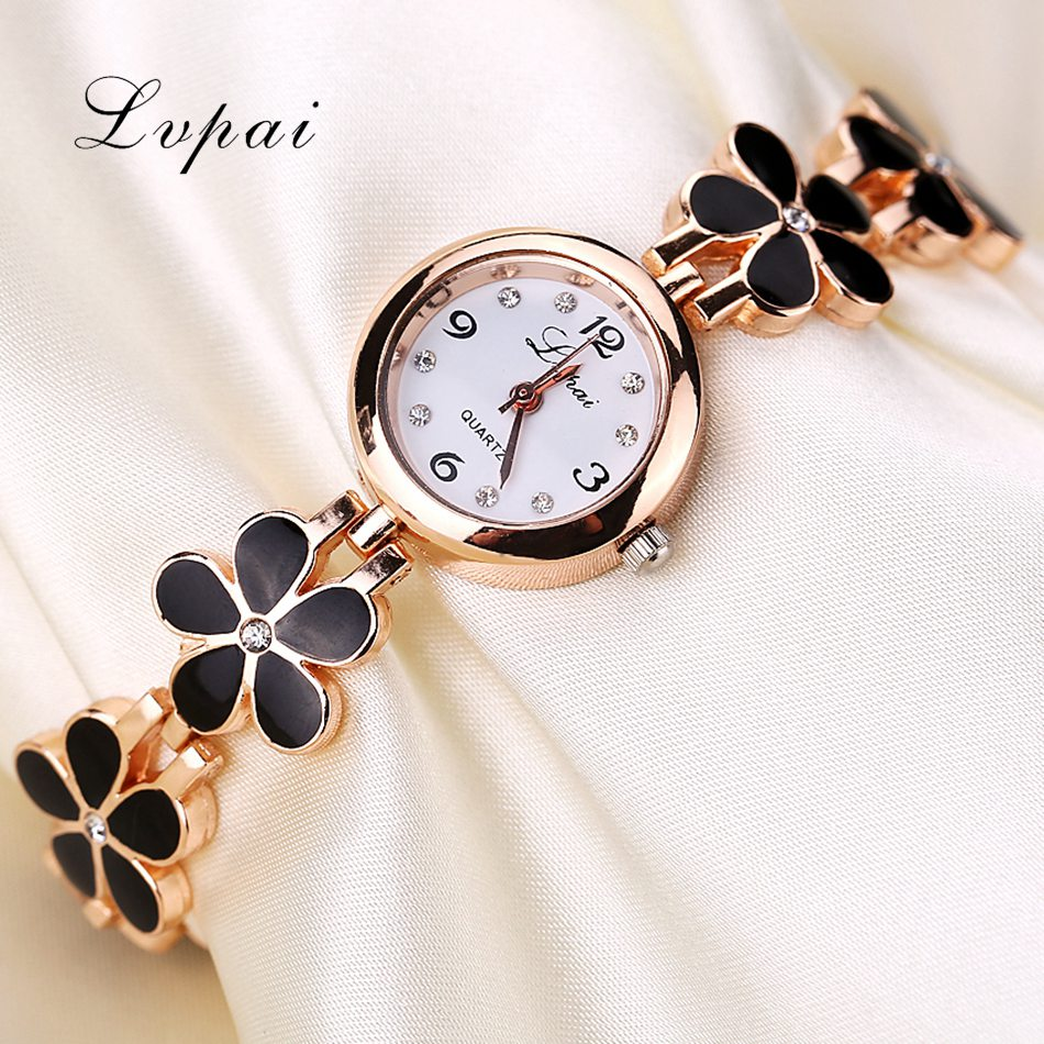 Lvpai Brand Luxury Crystal Gold Watches Women Fashion Bracelet Quartz Wristwatch Rhinestone Ladies Fashion Watch Gift XR694 lvpai fashion brand women watch rhinestone gold full steel quartz wristwatch girl lady women dress gift luxury fashion watches
