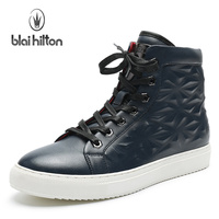 Blaibilton 2017 Ankle Boots Men Shoes Fashion Fretwork Side Zip High Top Quality PU Mens Shoes