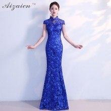 все цены на 2018 Fashion Girls Chinese Traditional Wedding Dress Goddess Lace Cheongsam Sleeveless Long Qipao Evening Gown China Qi Pao Blue онлайн