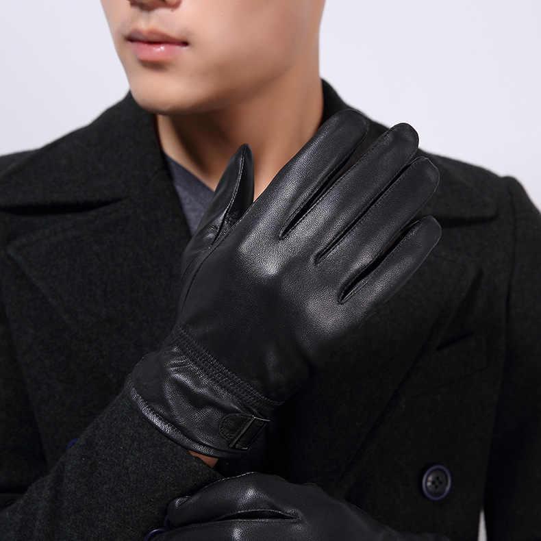 Luvas De Couro de pele de Cabra Genuínas dos homens 2019 Nova Marca de Inverno Luvas Luvas De Condução Dos Homens Preto Moda Mittens Quentes KWA557
