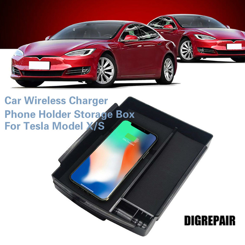 Storage-Box-Tray Phone-Holder Armrest Tesla Wireless-Charger Samsung Qi For Car Model-X/S