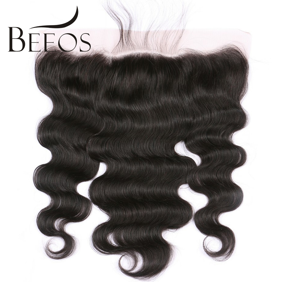 BEEOS Pre Plucked 13x4 Lace Frontal Closure Body Wave Brazilian Remy Hair Free Part Bleacked Knots With Baby Hair All Hand Tied