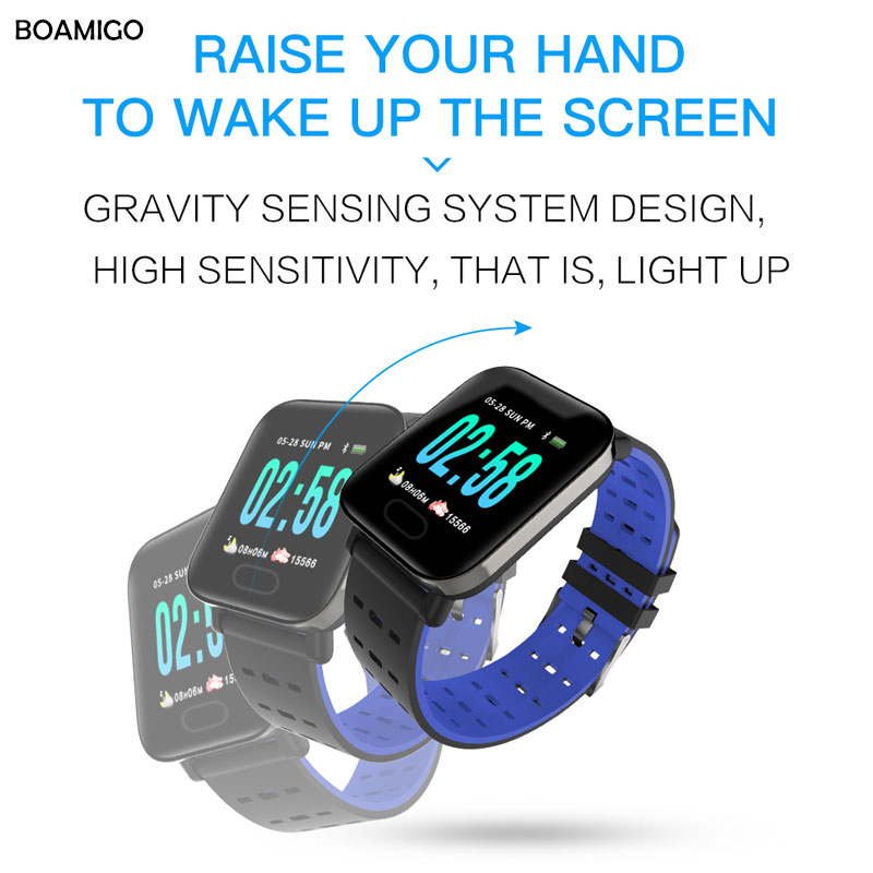 Watches Boamigo Bluetooth Smart Bracelet Color Screen Fitness Tracker Heart Rate Smart Band Step Activity Monitor Smart Watch For Sport Men's Watches