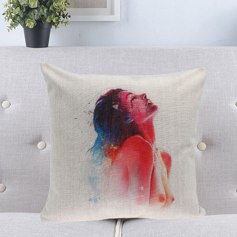 1 Piece 5 Styles Throw Pillow Cases Beautiful Sexy Women Print Pillows  Covers Decorative Pillowcases Art Paintings Design Cover-in Pillow Case  from Home ... e2ad2b5053