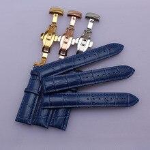 Bracelet de montre accessoires Alligator Grain véritable cuir bleu bracelet de montre bracelets 14mm 16mm 18mm 20mm 22mm papillon boucle nouveau