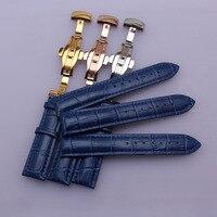 Poignet Bracelet Accessoires Grain Alligator Véritable en cuir Bleu montre bande sangles 14mm 16mm 18mm 20mm 22mm papillon boucle nouveau