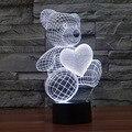 Criativo 7 Cores Surpreendente Ilusão de Ótica 3D Teddy Bear 3 CONDUZIU a Lâmpada Da Arte Escultura de Luz Noturna Produz Única Iluminação Melhor presente