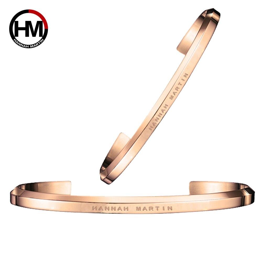 Stainless Steel Bracelet Cuff Rose Gold Silver Women / Men Bracelets Pulsera Match For Watch gold open cuff bracelets for women bijoux jewelry