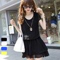 Corea Nueva Primavera Verano 2014 Mujeres de la Manga de Soplo Ropa Fold Cascading Ruffle Dobladillo Vestidos de La Cintura Elástico Lindo Mini Vestido de Gasa