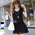 Korean New Spring Summer 2014 Puff Sleeve Women Clothing Fold Cascading Ruffle Hem Dresses Elastic Waist Cute Mini Chiffon Dress