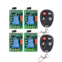 220V 30A Wireless Light Switch Remote Control System Light/Lamp LED Water Pump Electrical Machine 4Pcs Receiver+ 4 Button Remote