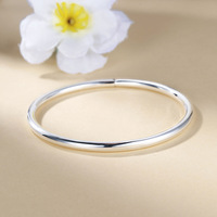 S S925 Foot silver bracelet woman simple round bar smooth cut bracelet silver ornaments Silver necklace pendant gift for