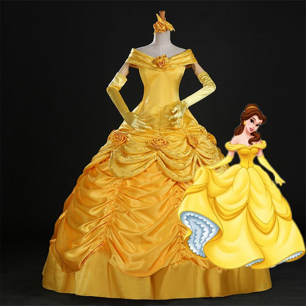 Bonne qualité 2017 Fantasia femmes Halloween Cosplay sud beauté et la bête adulte princesse Belle Costume robe de mariée cloche