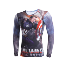 captain America 3 digital printing compressed t-shirts men long sleeve 3D t-shirts  Deadpool Superman iron Man  model