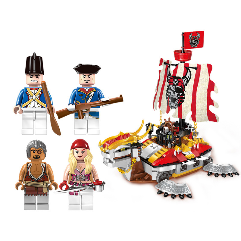464pcs Pirate Ship Figures Bricks Toy Ship Armored Warships Enlighten Building Blocks Boys Gifts Toys for Children K0418-1312 1779pcs large building blocks sets pirate ship imperial warships compatible legoinglys caribbean pirate ship toys for children