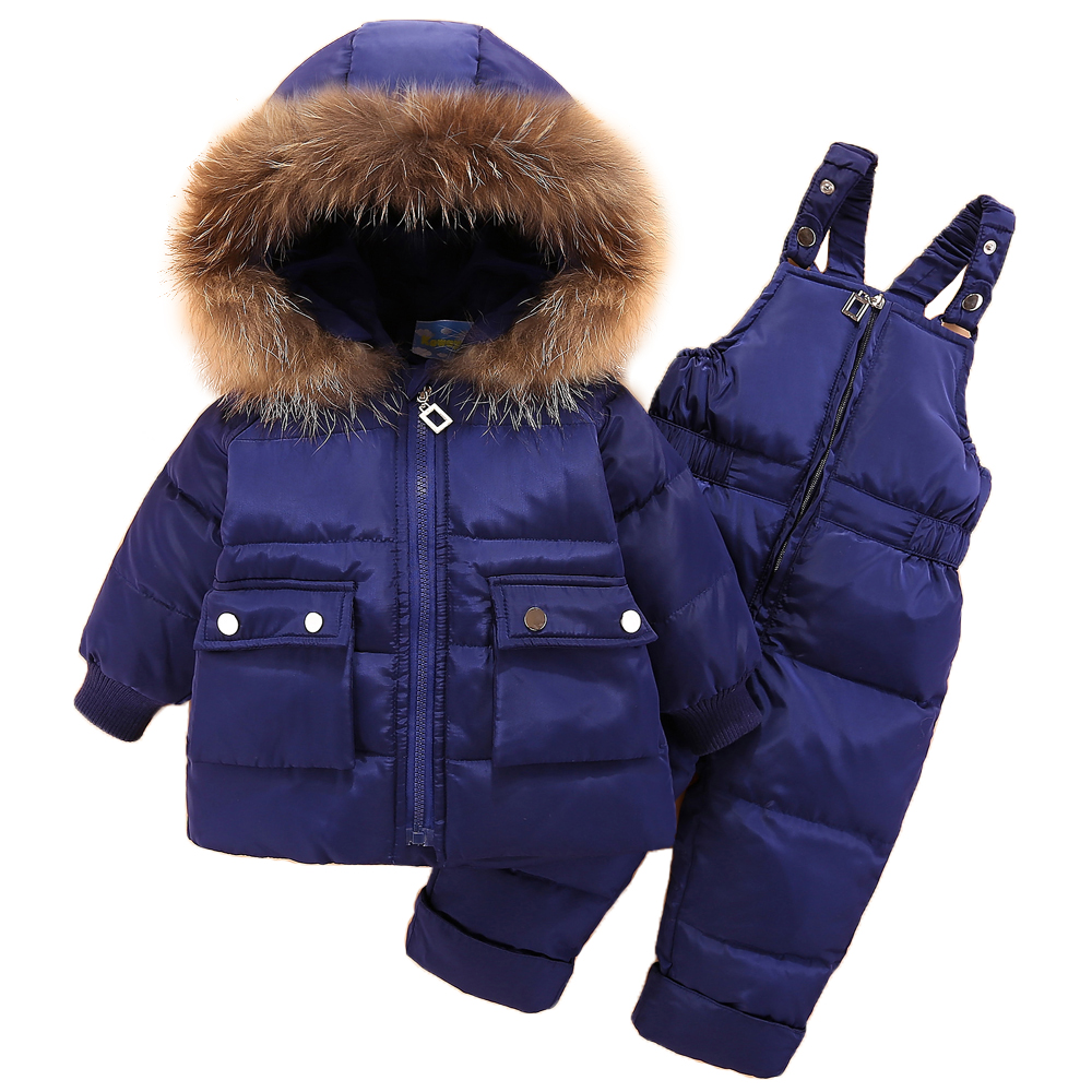 купить Winter Kids Clothing Sets Warm Duck Down Jackets Clothing Sets for Baby Girls Baby Boys Down Suit Coats Pants 2pc Overcoat недорого