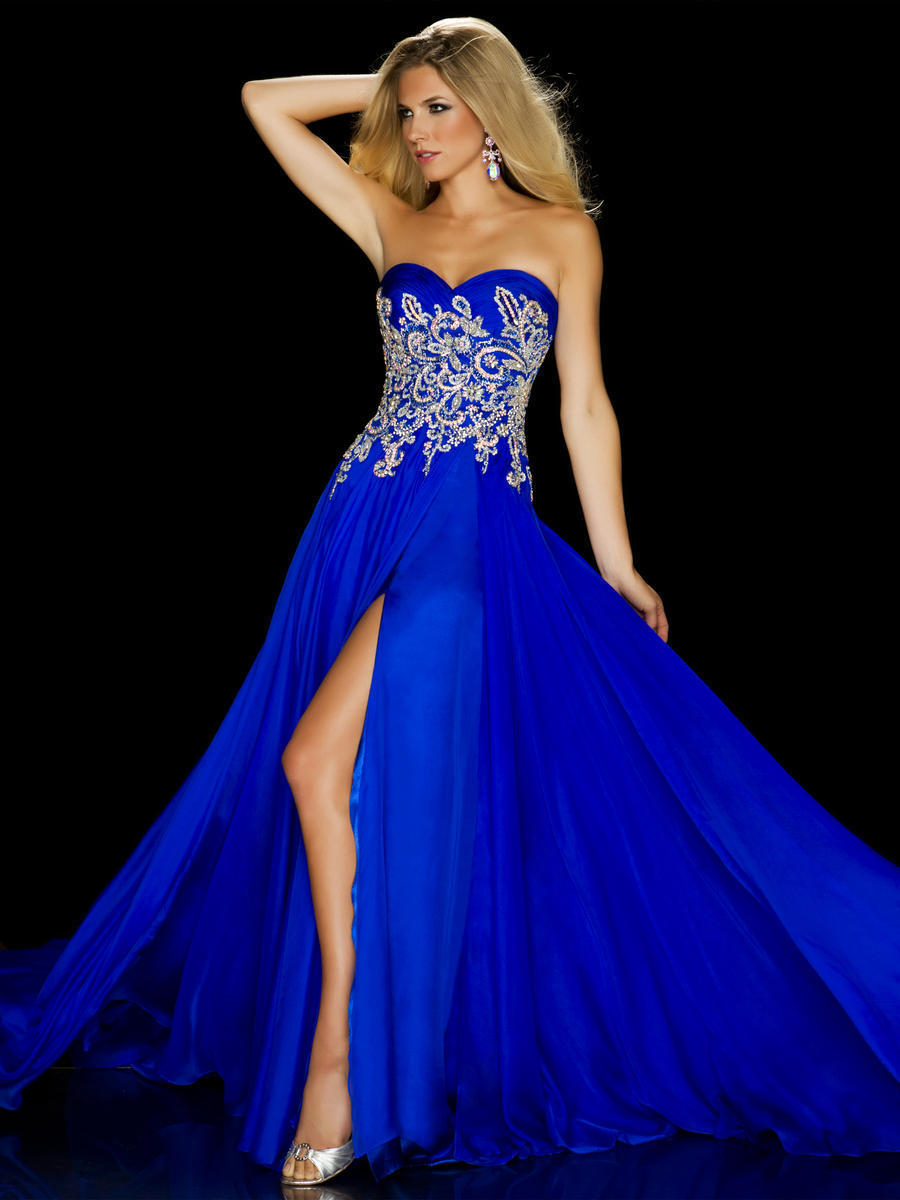 2018 Vintage Long Prom Pageant Gown Royal Blue Sweetheart Crystals ...