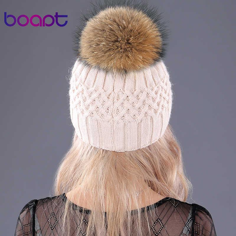 [Bopat] คู่ชั้นกระต่ายกระต่ายกระต่ายกระต่ายกระต่ายนุ่มถักหมวก raccoon ขนสัตว์ pompom ผู้หญิงหมวกฤดูหนาวหญิงหมวก skullies beanies