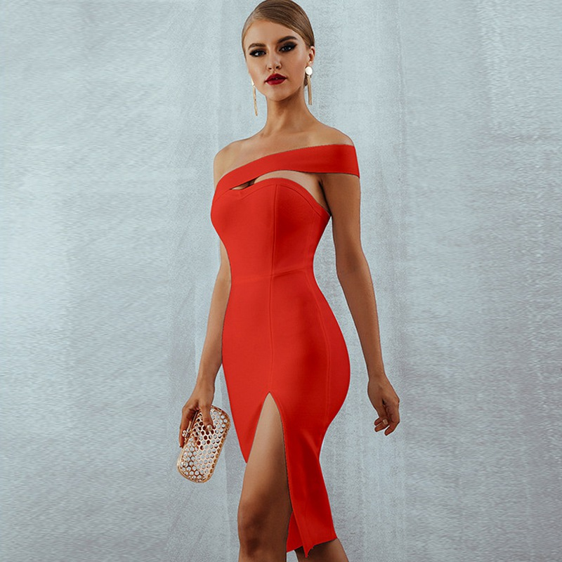 Adyce 2019 New Summer Woman Bandage Dress Slash Neck Bodycon Off Shoulder Midi Club Dress Celebrity Evening Party Dress Vestidos Ideal Gift For All Occasions Back To Search Resultswomen's Clothing