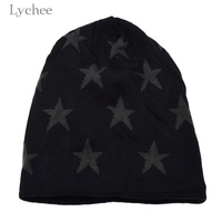 Lychee Harajuku Punk Winter Star Print Warm Knit Beanie Cap Bizarre Adventure Beanie Knitted Fleece Hat