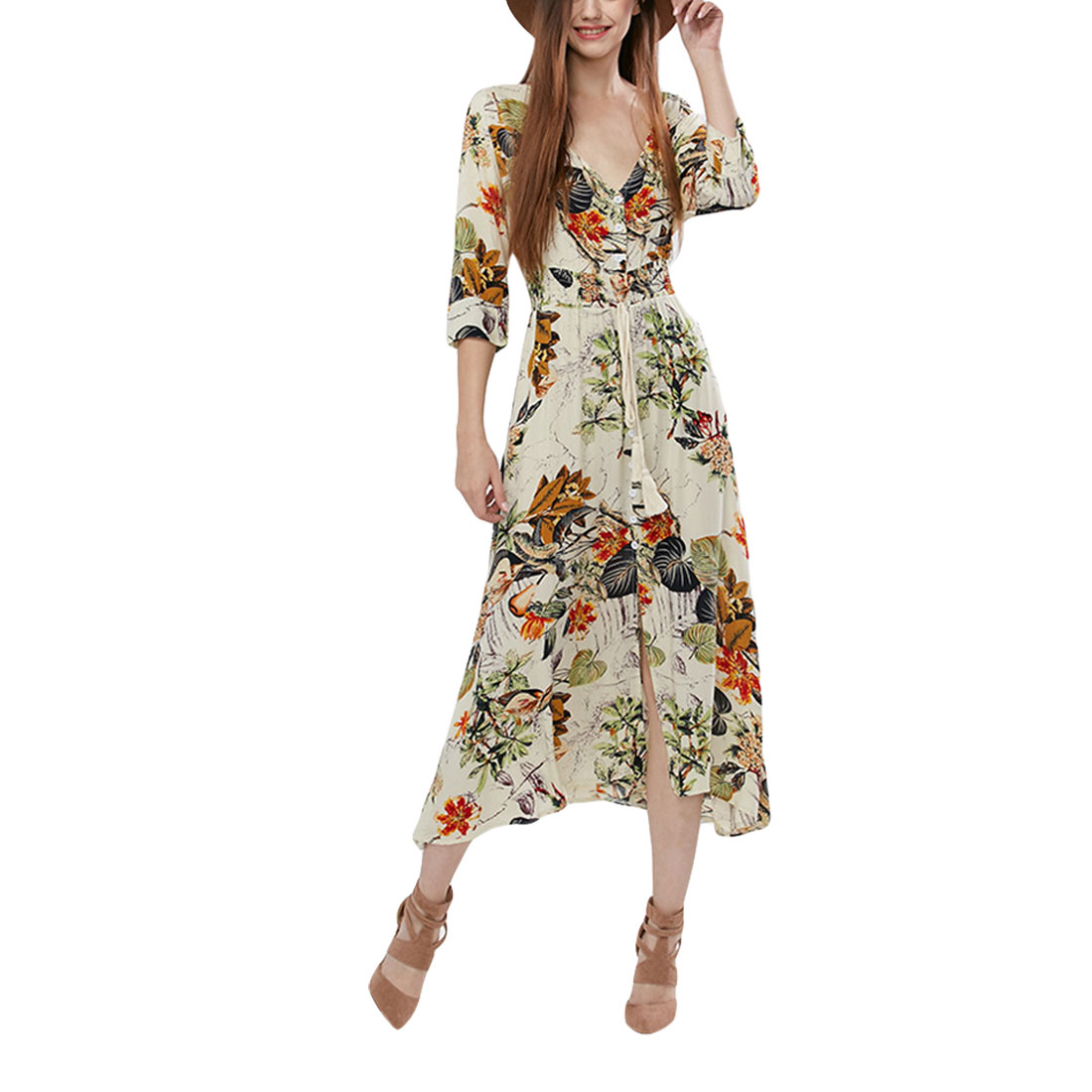 JIMMYHANK Women Summer Casual V Neck 3/4 Sleeve Floral Print Buttom Vacation Beach Maxi Dress