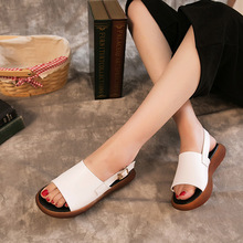 Leather Summer Sandals Female Original Womens Shoes Retro Fish Mouth
