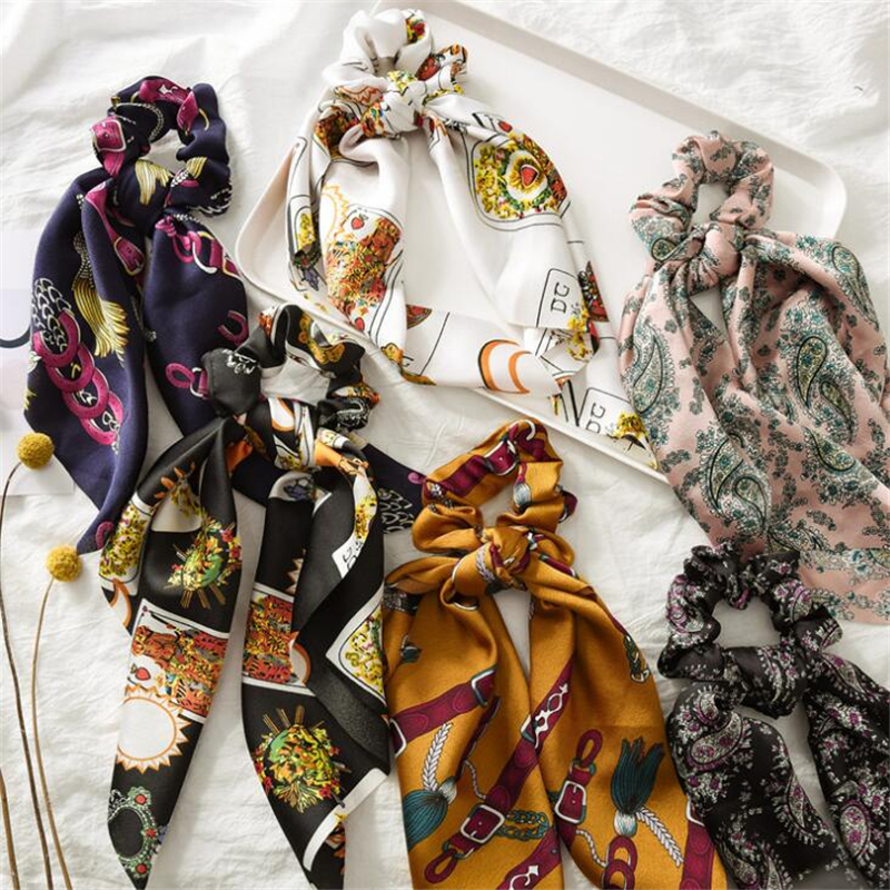Fashion Women Girls Ribbon Spring Summer Elastic Hair Bands Scrunchies Girls Elegant National Tassel   Headwear   Hair Accessories