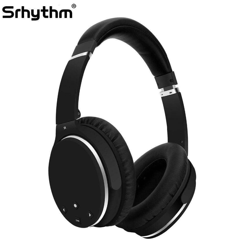 Bluetooth Sans Fil Casque Antibruit Hifi Pliable ANC Over Ear Écouteurs deep bass Casque avec microphone srhythm