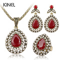 Fashion Red Jewelry Set All Over Sky Star Austrian Crystal Ancient Bronze Three-Piece Wedding Accessories Turkey Jewelry