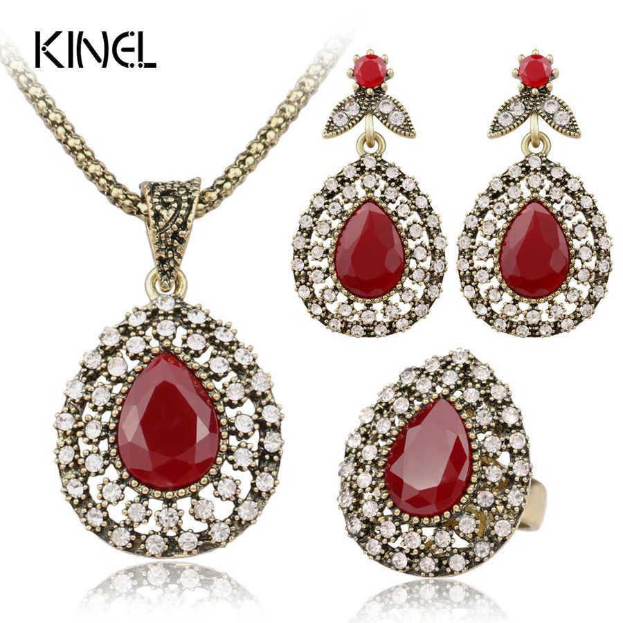 Moda Conjunto de Jóias Em Todo o Céu Da Estrela de Cristal Austríaco Vermelho Antigo Bronze Três-Pedaço Acessórios Do Casamento Jóia Da Turquia