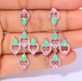 "CiNily Created Green Fire Opal Pink Zircon Silver Plated Earrings Wholesale Retail for Women Jewelry Stud Earrings 1 3/4"" OH3669"