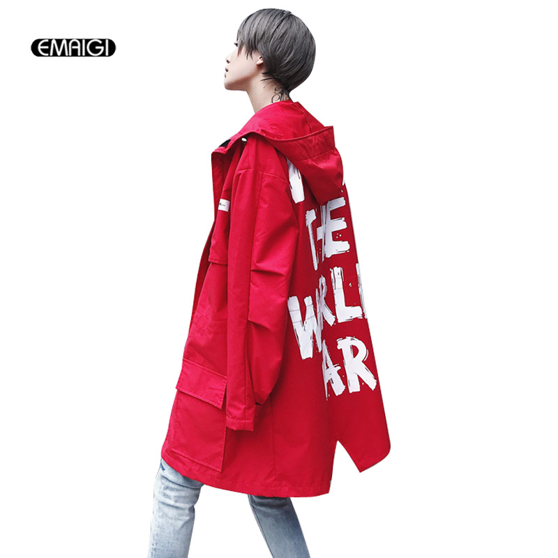 Men Women High Street Hooded Trench Coat Letter Printing Fashion Hip Hop Casual Long Cardigan Trench Jacket